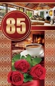 Открытка Средняя Кофе и розы 85 лет  5-09-0299