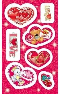 Наклейка Валентинка Сверкающие сердечки 4-10-0070