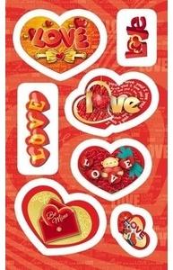 Наклейка Валентинка Мишка и сердечки 4-10-0064