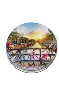 "Компактное зеркало ""Закат на мосту"" (прозрачный пакетик) З-4559"