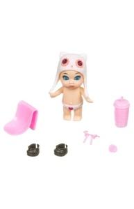 Куколка 8см OLY в шапочке-ушанке с животным  и аксессуар в поильнике, девочка-C ВВ385
