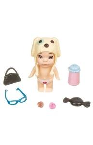 Куколка 8см OLY в шапочке-ушанке с животным и аксессуар в банане мальчик-C ВВ3842
