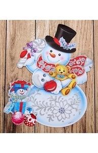 Плакат оформительский НГ. Весёлый снеговик, на скотче  НУ-0835