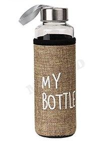 Бутылка для воды, в чехле My bottle, 300 мл, бежевый УД-6412