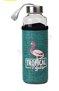 Бутылка для воды, в чехле Фламинго, 400 мл, бирюзовая УД-6415