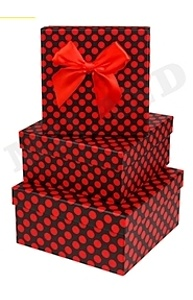 Коробка подарочная 150x 150 x 65 Милый горошек/ с бантиком ПП-6730