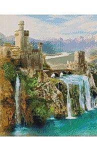 Алмазная мозаика 40х50см Замок с водопадом UА194
