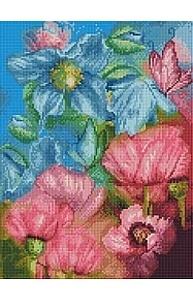 Алмазная мозаика 40х50см Голубые и розовые цветы UB115