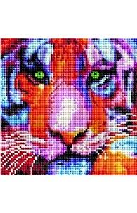 Алмазная мозаика 20х20см Тигр в ярких красках UС221