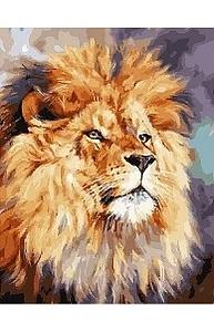 Холст с красками 40х50см Акварельный лев МСА473