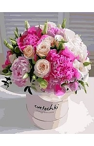 Холст с красками 40х50см Пионы и розы GX36133