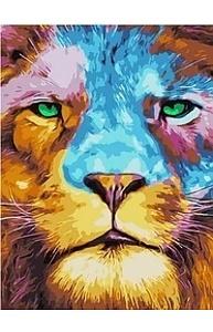 Холст с красками 30х40см Разноцветный лев МСВ145