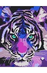 Холст с красками 20х30см Цветной тигр MCD105