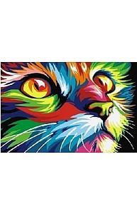 Холст с красками 20х30см Радужный кот СX3220