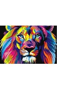 Холст с красками 20х30см Радужный лев СX3602