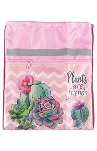 """Мешок для обуви 1 отд, с карманом и светотр. """"Цветущие кактусы-1""""  330х400"""